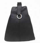 sportlich-eleganter Damen Leder Stadtrucksack schwarz, 3 separate Fächer
