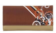 Friedrich Lederwaren Kunstleder Schmuckrolle braun/bunt, viele Fächer, Ringleiste, Serie Diagona, ca. 24x13x3 cm