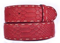 echt Ledergürtel rot, Pythonprägung, 4 cm breit, 100 cm lang