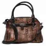 MARC CHANTAL stylische Leder Damentasche braun metallic, viele Fächer