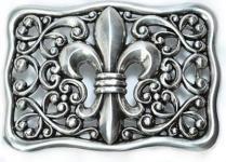 Gürtelschließe Lilien-Ornament silber, 9, 5 cm lang, 6 cm hoch