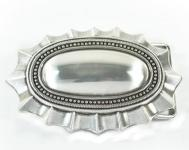 Gürtelschließe Oval mit Zacken silber 10 cm lang, 6, 5 cm hoch