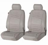 2 Stück Universal Echt Leder Auto Sitzbezüge grau für fast alle PKW, für Fahrersitz und Beifahrersitz