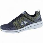 Skechers Burst 2.0 coole Herren Mesh Sneakers black lemon, Air-Cooled-Memory-Foam-Fußbett, 4238183