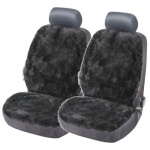 2 Stück Universal Autositzfelle schwarz, echtes Lammfell mit Polyester kombiniert, wärmt im Winter, kühlt im Sommer