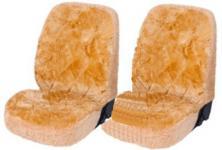 2 Stück Lammfell Universal Autositzfelle camel für alle PKW, Patchwork, 1-teilig, Lammfell Sitzbezug mit Kunstpelz