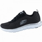 Skechers Break Free coole Damen Mesh Sneakers black white, Air-Cooled-Memory-Foam-Fußbett, 4238139