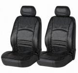 2 Stück Universal Echt Leder Auto Sitzbezüge schwarz für fast alle PKW, für Fahrersitz und Beifahrersitz