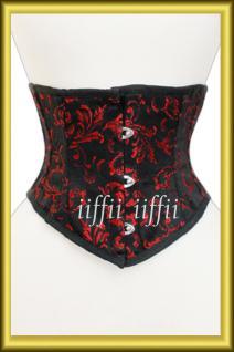 Taillen korsett corsage aus Brokat Schwarz Rot
