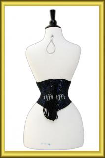 Taillen korsett corsage aus Brokat Schwarz Lila - Vorschau 4
