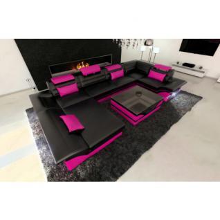 Luxus Wohnlandschaft Enzo LED schwarz-pink