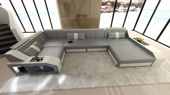 leder wohnlandschaft arezzo grau weiss kaufen bei pmr. Black Bedroom Furniture Sets. Home Design Ideas