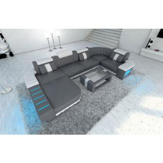 mega ledersofa bellagio u form mit led beleuchtung grau weiss kaufen bei pmr. Black Bedroom Furniture Sets. Home Design Ideas