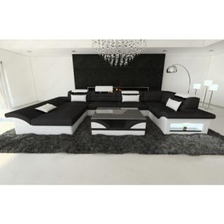 Stoff/Leder Sofa ENZO U-Form schwarz