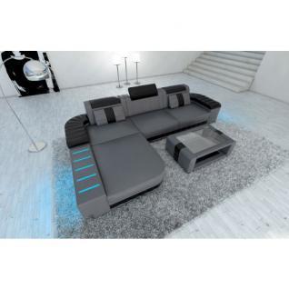 Designersofa BELLAGIO L-Form mit LED Beleuchtung grau-schwarz