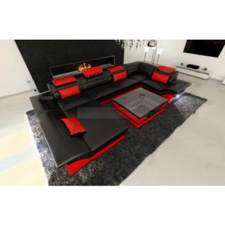 Luxus Wohnlandschaft Enzo LED schwarz rot