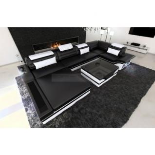 Luxus Wohnlandschaft Mezzo mit LED schwarz weiss