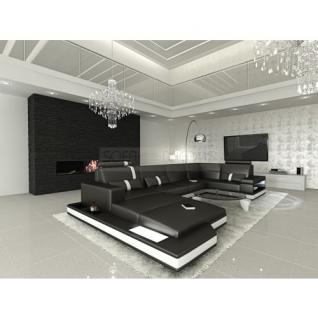 ledersofa wohnlandschaft messana schwarz weiss kaufen. Black Bedroom Furniture Sets. Home Design Ideas