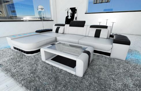 ledersofa bellagio l form mit led beleuchtung weiss schwarz kaufen bei pmr handelsgesellschaft mbh. Black Bedroom Furniture Sets. Home Design Ideas