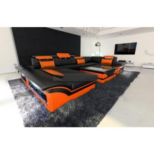 Luxus Wohnlandschaft Enzo LED schwarz orange