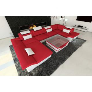 Design Materialmix Wohnlandschaft ENZO U-Form rot