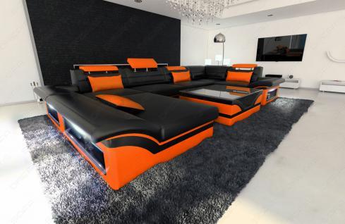 Luxus wohnlandschaft enzo led schwarz orange kaufen bei for Luxus wohnlandschaft
