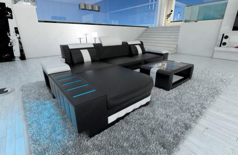 ledercouch bellagio l form mit led beleuchtung schwarz weiss kaufen bei pmr. Black Bedroom Furniture Sets. Home Design Ideas
