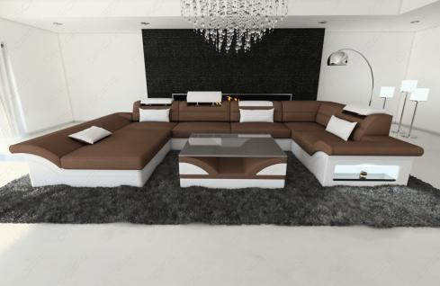 stoff leder mix wohnlandschaft enzo u form braun kaufen bei pmr handelsgesellschaft mbh. Black Bedroom Furniture Sets. Home Design Ideas