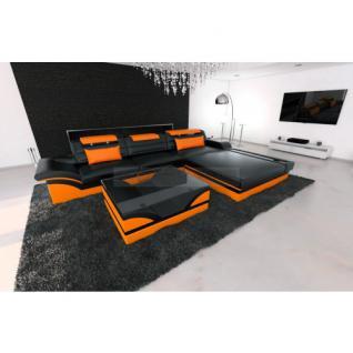 Designer Ledersofa Parma L schwarz orange
