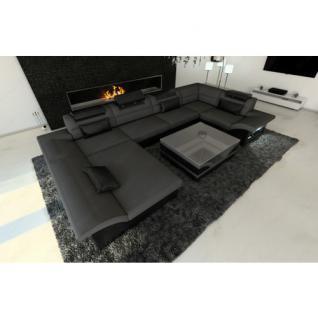 stoff leder wohnlandschaft enzo u form grau kaufen bei pmr handelsgesellschaft mbh. Black Bedroom Furniture Sets. Home Design Ideas