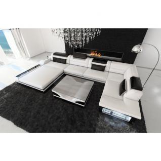 Luxus Wohnlandschaft Mezzo mit LED weiss schwarz