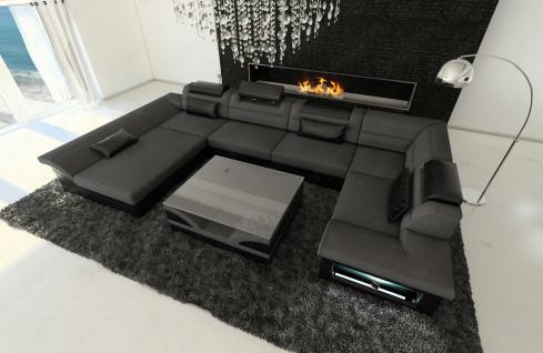 stoff leder wohnlandschaft enzo u form grau kaufen bei. Black Bedroom Furniture Sets. Home Design Ideas