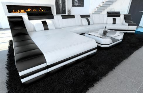 Luxus wohnlandschaft turino c form mit led beleuchtung for Wohnlandschaft luxus