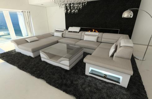 leder stoff wohnlandschaft enzo u form sandbeige kaufen bei pmr handelsgesellschaft mbh. Black Bedroom Furniture Sets. Home Design Ideas