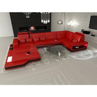 ledersofa wohnlandschaft messana rot schwarz kaufen bei pmr handelsgesellschaft mbh. Black Bedroom Furniture Sets. Home Design Ideas