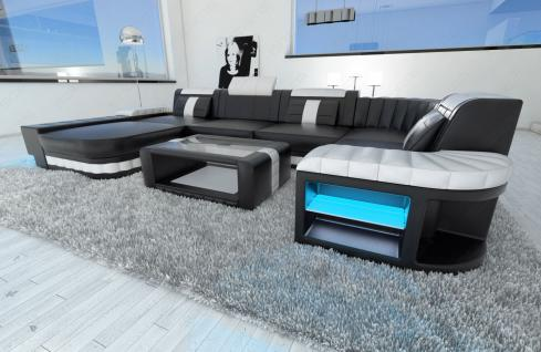 ledercouch bellagio u form mit led beleuchtung schwarz weiss kaufen bei pmr. Black Bedroom Furniture Sets. Home Design Ideas