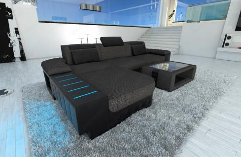 design stoff sofa bellagio l form schwarzgrau kaufen bei. Black Bedroom Furniture Sets. Home Design Ideas