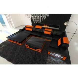 Luxus Wohnlandschaft Mezzo mit LED schwarz orange