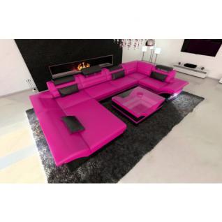 Leder Wohnlandschaft ENZO LED pink-schwarz