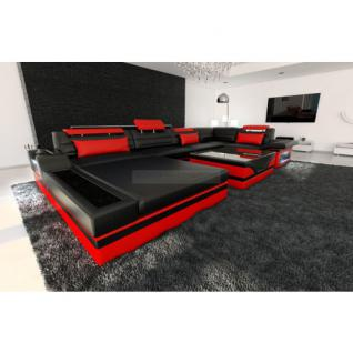 Luxus Wohnlandschaft Mezzo mit LED schwarz rot