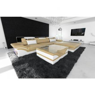 Designer Ledersofa Parma L sandbeige weiss
