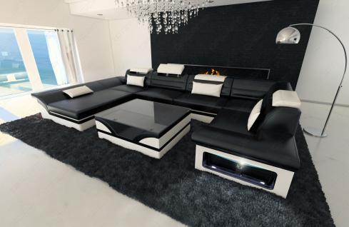 Luxus wohnlandschaft enzo led schwarz weiss kaufen bei for Luxus wohnlandschaft