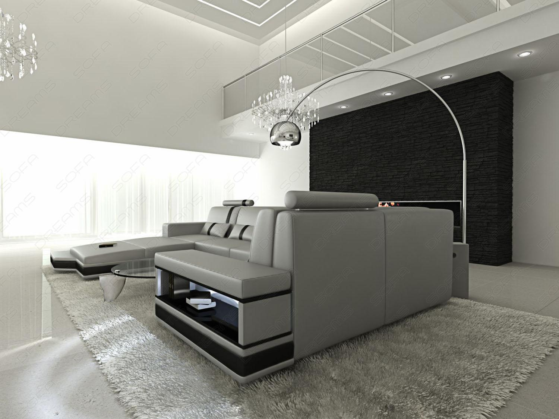 ledersofa wohnlandschaft messana grau schwarz kaufen bei pmr handelsgesellschaft mbh. Black Bedroom Furniture Sets. Home Design Ideas