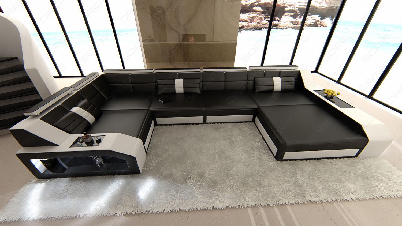 leder wohnlandschaft arezzo schwarz weiss kaufen bei pmr. Black Bedroom Furniture Sets. Home Design Ideas