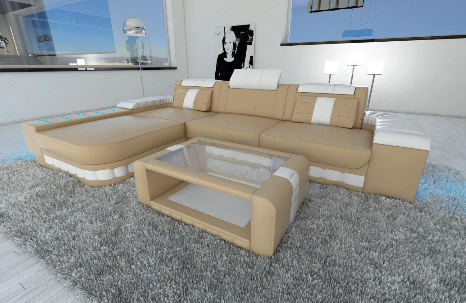 modernes ecksofa bellagio l form mit led beleuchtung sandbeige weiss kaufen bei pmr. Black Bedroom Furniture Sets. Home Design Ideas