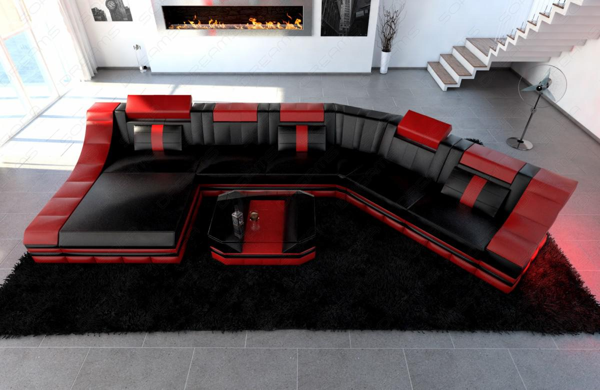 leder wohnlandschaft turino cl mit led kaufen bei pmr. Black Bedroom Furniture Sets. Home Design Ideas