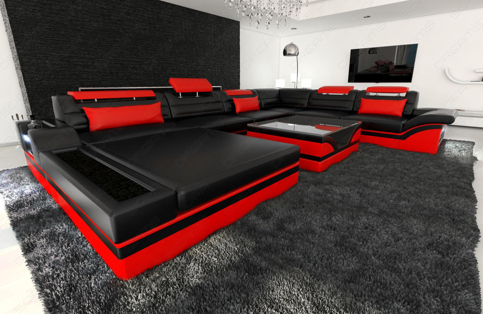 designer wohnlandschaft mezzo xxl mit led schwarz rot. Black Bedroom Furniture Sets. Home Design Ideas