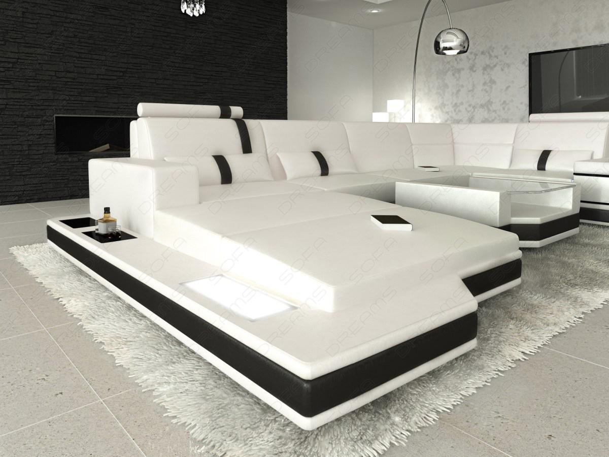 ledersofa wohnlandschaft messana weiss schwarz kaufen. Black Bedroom Furniture Sets. Home Design Ideas