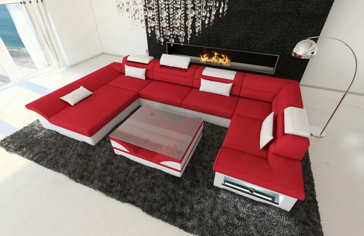 Design materialmix wohnlandschaft enzo u form rot kaufen bei pmr