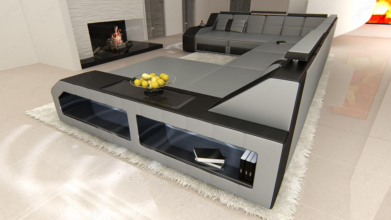 xxl leder wohnlandschaft matera grau schwarz kaufen bei. Black Bedroom Furniture Sets. Home Design Ideas